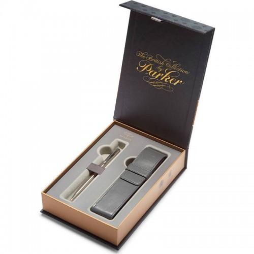 Подарочный набор из шариковой ручки Parker (Паркер) Sonnet Stainless Steel CT и чехла в Уфе