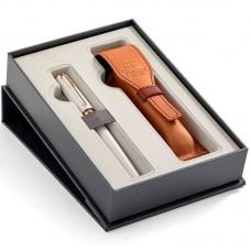 Набор с чехлом из натуральной кожи и ручкой Parker (Паркер) 5th Ingenuity Slim Pearl PGT