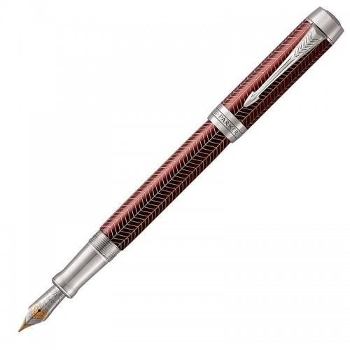 Перьевая ручка Parker (Паркер) Duofold Prestige Centennial Burgundy Chevron CT F в Уфе